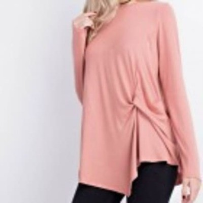 Bamboo Twisted Front Boat Neck Top