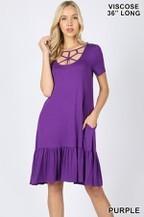 Bamboo Short Sleeve Web Detail Front Ruffle Dress W/Pockets