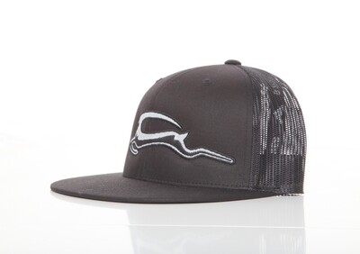 Trucker Mesh Embroidered SnapBack - Black