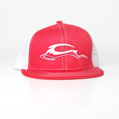 Trucker Mesh Embroidered SnapBack - Red