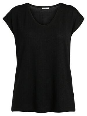 T-shirt met korte mouwen - BILLO - zwart basic met zwarte lurex (horizontale glitterlijn)