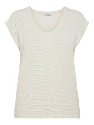 T-shirt met korte mouwen - BILLO - wit basic met gouden lurex (horizontale glitterlijn)