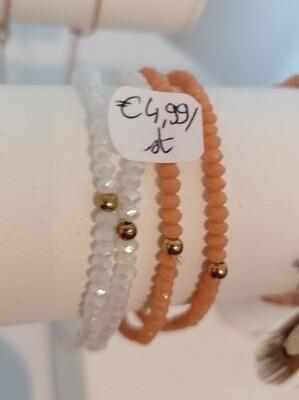 Armband - ELFIE - rekarmbandje met roze parels