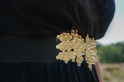 Tailleriem zwart - met gouden bolletjes - LIVIA