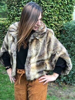 Jas - ALLEX - faux fur bruintinten