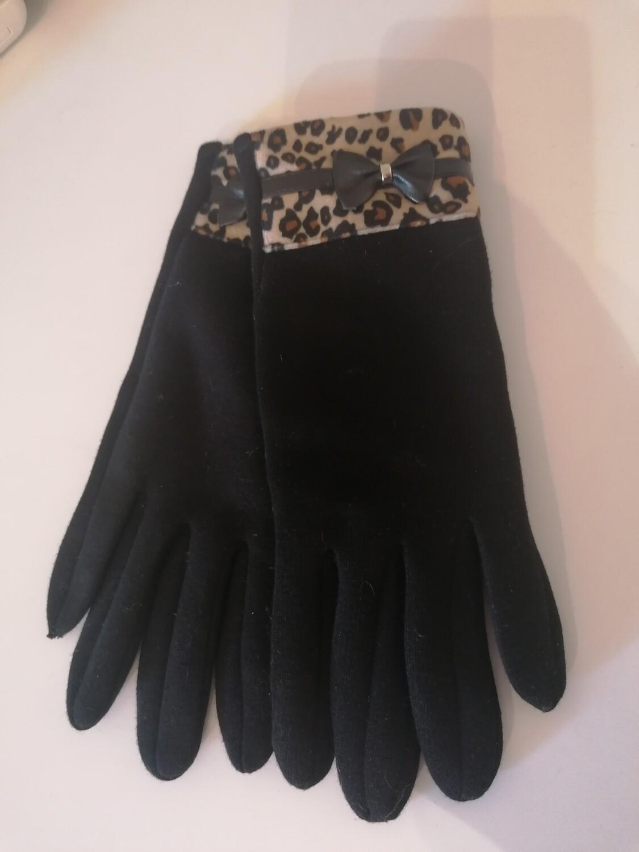 Handschoenen - zwart met leopard boord en strikje - EVA
