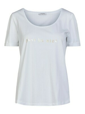 T-shirt - wit met korte mouwen opschrift 'just be nice'