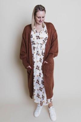 Knitwear - LARA - extra lang bruin