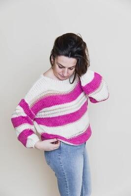 Knitwear - YELENA - fuchsia en witte strepen, met gouddraad