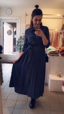 Maxi jurk - STARR - donkerblauw met witte bolletjes