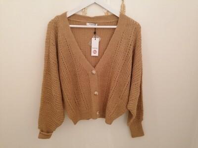 Knitwear - korte vest oversized - donkerbeige