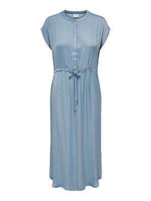 Midi jurk - SHEELA - satijnlook lichtblauw