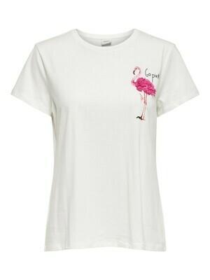 T-shirt met korte mouwen wit - flamingo