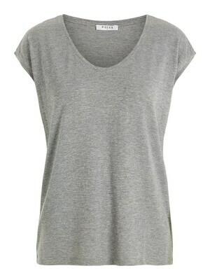 T-shirt met korte mouwen - BILLO - grijze basic met zilveren lurex (horizontale glitterlijn)