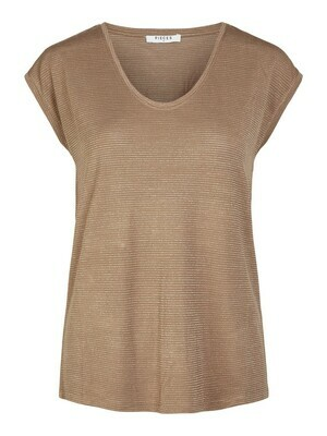 T-shirt met korte mouwen - BILLO - roze basic met zilveren lurex (horizontale glitterlijn)