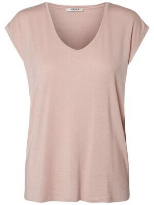 T-shirt met korte mouwen - BILLO - lichtroze basic met zilveren lurex (horizontale glitterlijn)