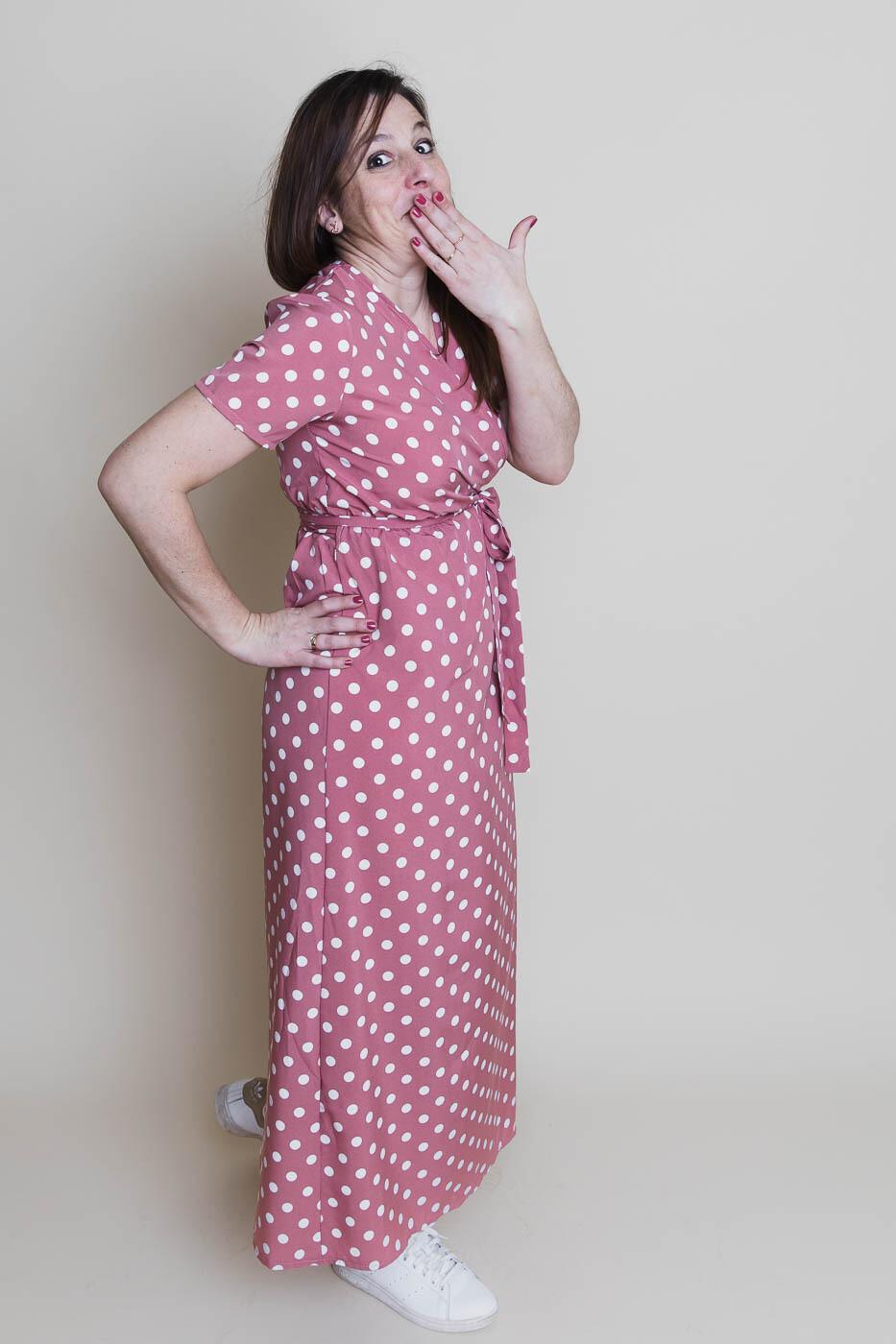 Maxi jurk - ESTER - roze met witte bolletjes