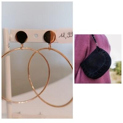 COMBI 14: zwart handtasje + rosé oorbellen