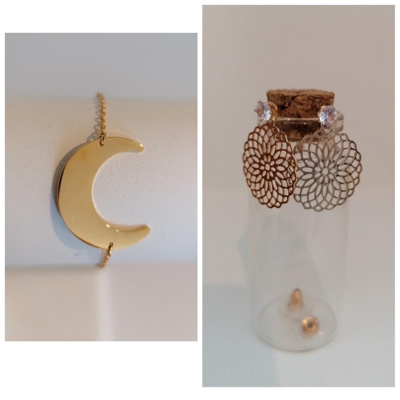 COMBI 10: gouden armandje maan + hangoorbelletjes