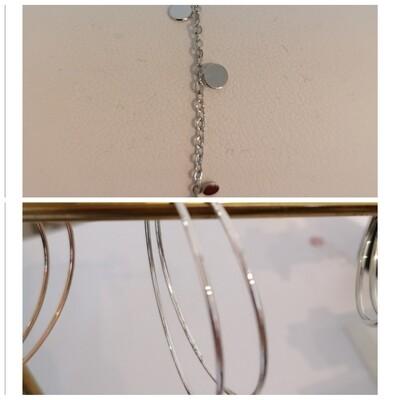 COMBI 20: zilveren armbandje + ronde oorbellen zilver