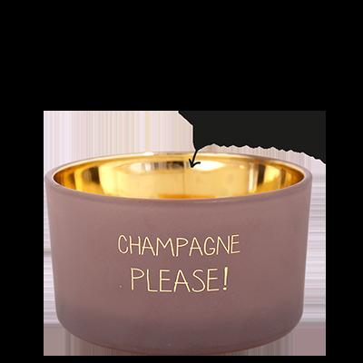 Kaars met tekst 'CHAMPAGNE PLEASE'