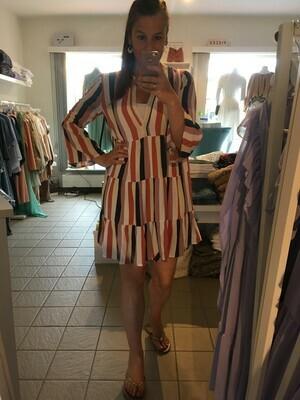 Korte jurk - STARR - babydoll met streepjes