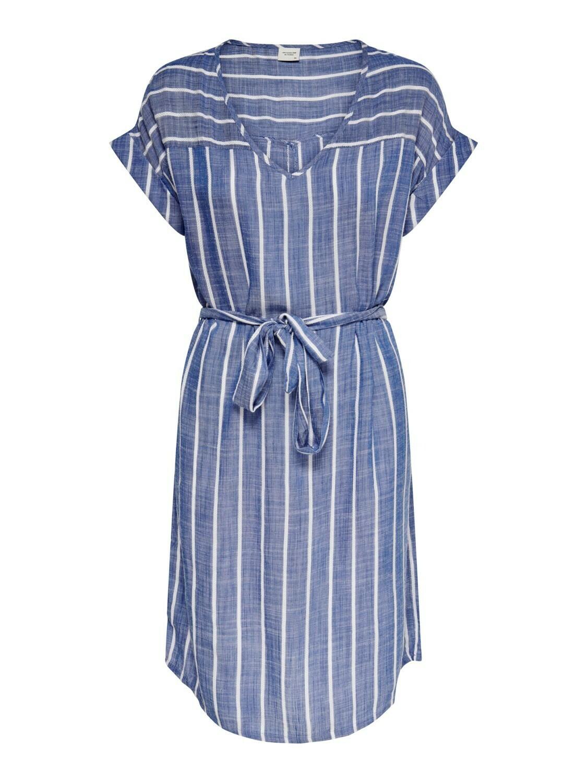 Midi jurk met strepen - JANINE - blauw met witte streep