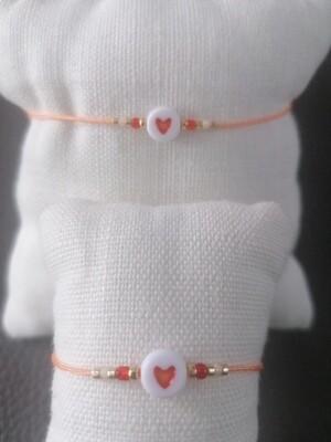 Armband kinderen - twinning is winning - peach