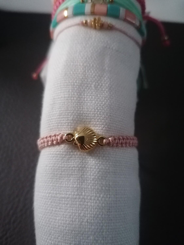 Armband voor kinderen - BENTHE - peach met schelpje