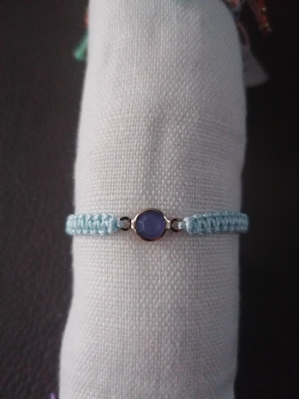 Armband voor kinderen - BENTHE - lichtblauw met steentje