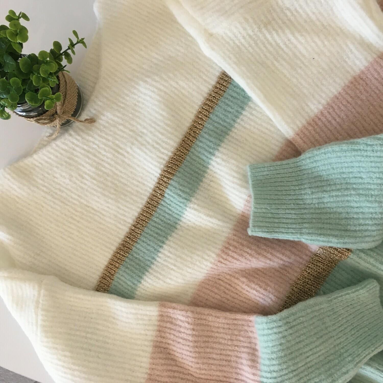 Knitwear trui - PATRICIA - roze/munt/wit
