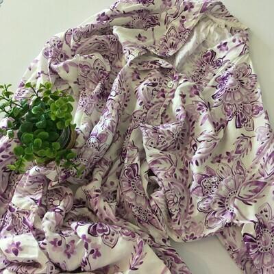 Maxi jurk - Wit met paarse bloemen