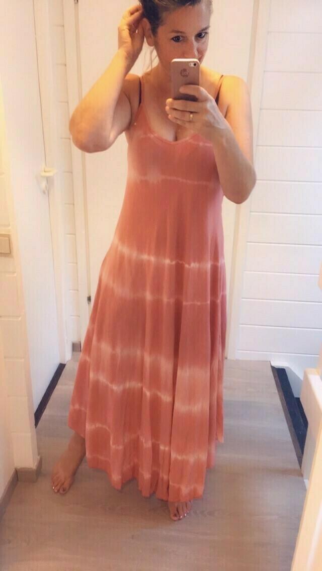 Maxi jurk - LAYLA - tie dye roze/wit
