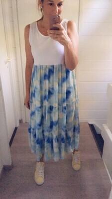 Midi jurk - LIANE - wit/gekleurd