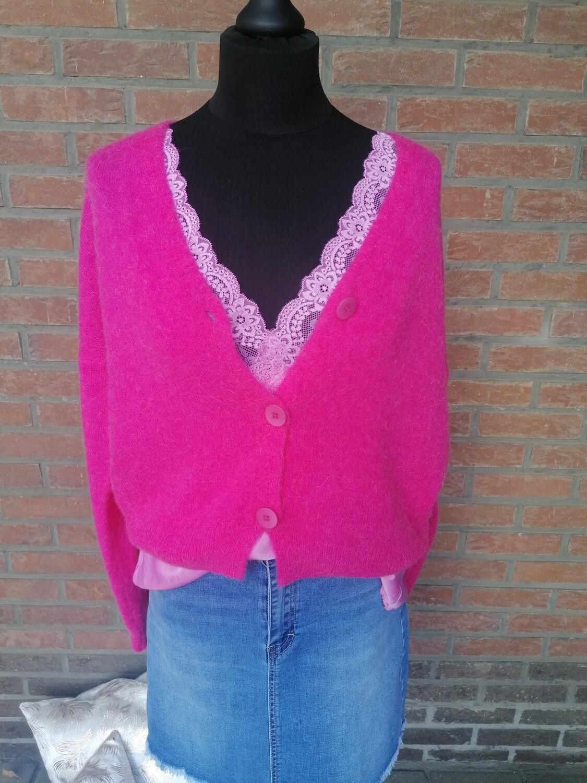 Knitwear korte vest - KLAASJE - fuchsia