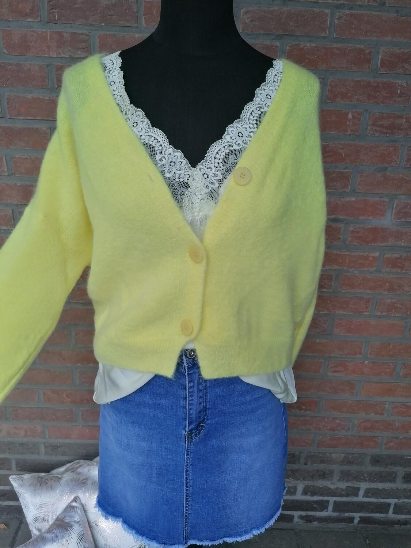 Knitwear korte vest - KLAASJE - geel