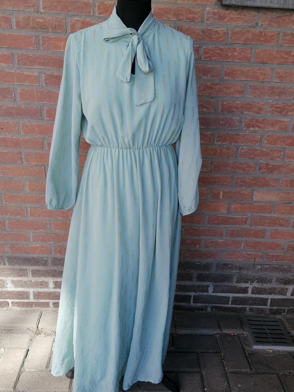 Maxi jurk - CHEYENNE - muntgroen met gouden streepjes