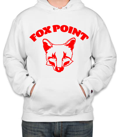 Fox Point Champion Adult 9 oz. Double Dry Eco® Pullover Hood Red on White