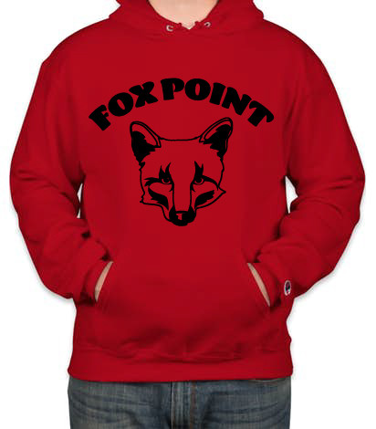 Fox Point Champion Adult 9 oz. Double Dry Eco® Pullover Hood Black on Red