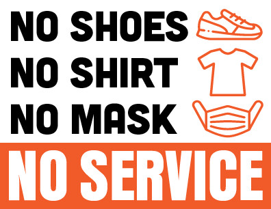 No Shoes Shirt Mask Sign