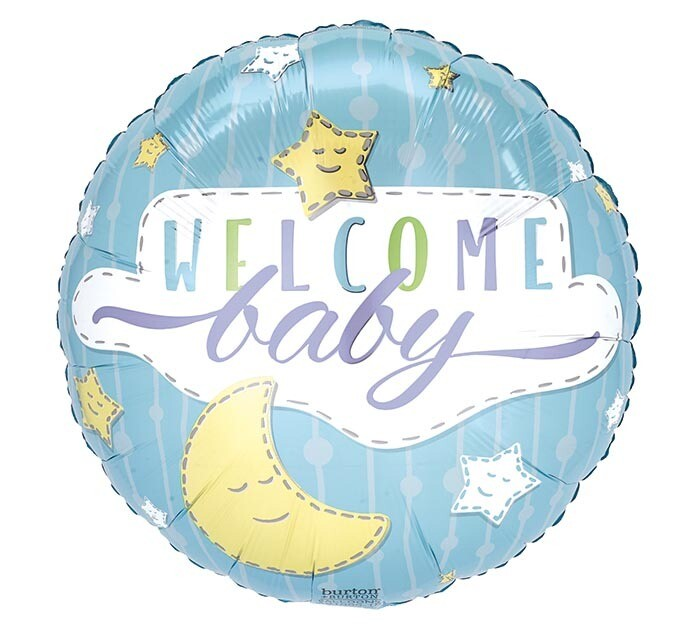 """18"""" WELCOME BABY BLUE STARS & MOON"""