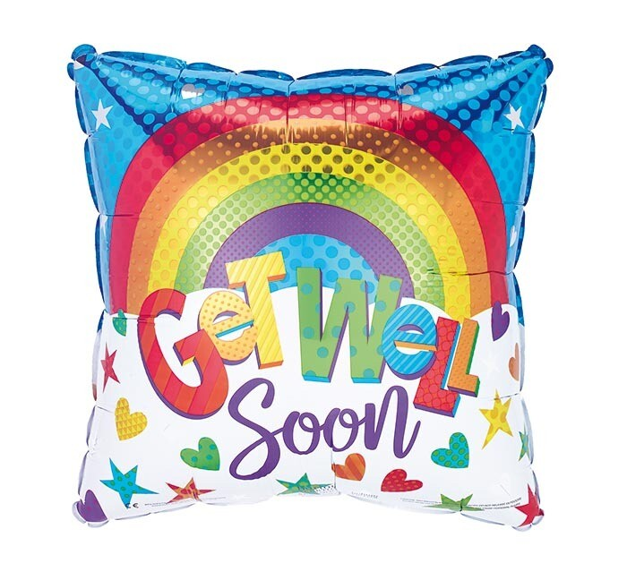 """18"""" SQUARE RAINBOW GET WELL"""