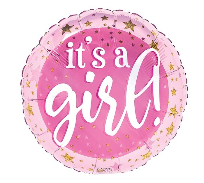 """18"""" PINK & GOLD IT'S A GIRL STARS"""