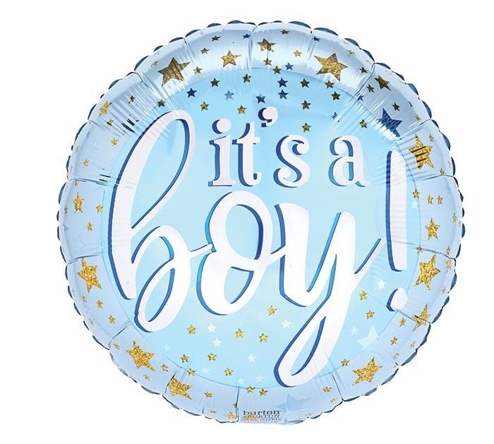 "18"" BLUE & GOLD IT'S A BOY STARS"