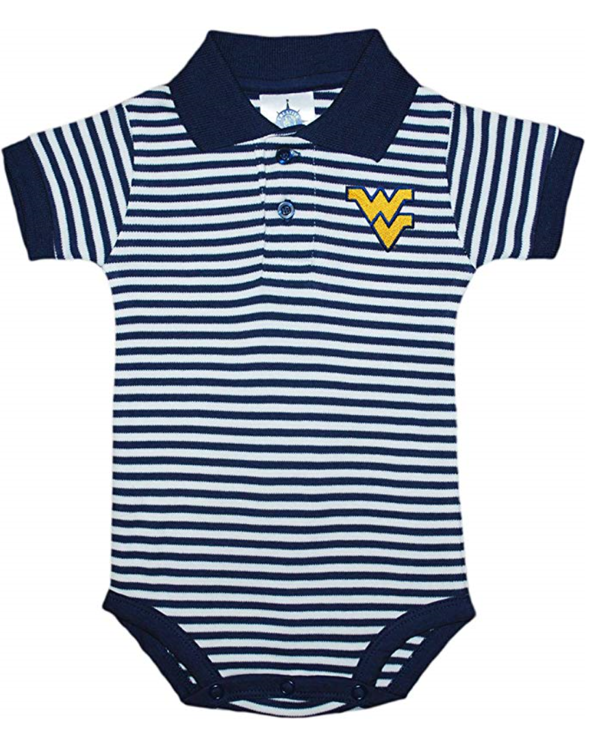 WV STRIPED POLO BODYSUIT 0-12 MONTH NAVY & WHITE 6-9 MONTH