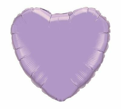 METALLIC HEART SOLID BALLOON LAVENDER