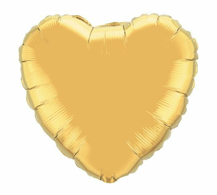METALLIC HEART SOLID BALLOON GOLD 2