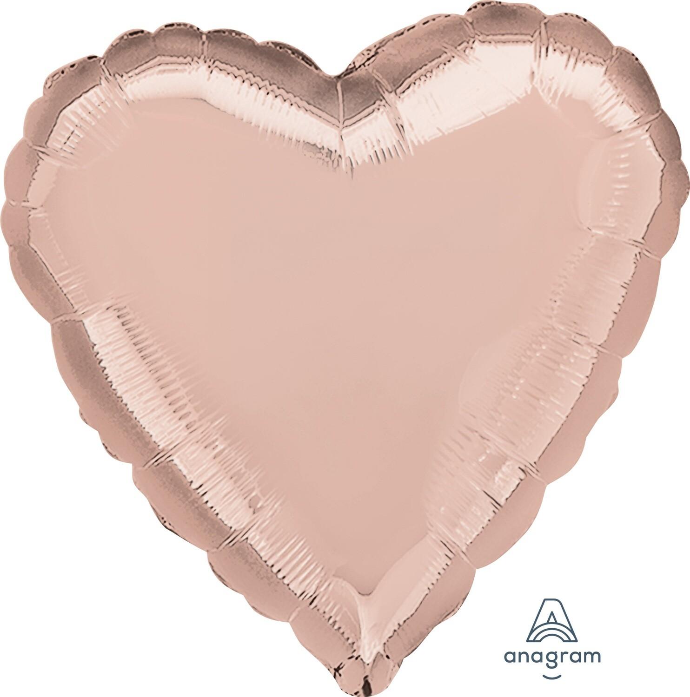 METALLIC HEART SOLID BALLOON ROSE GOLD