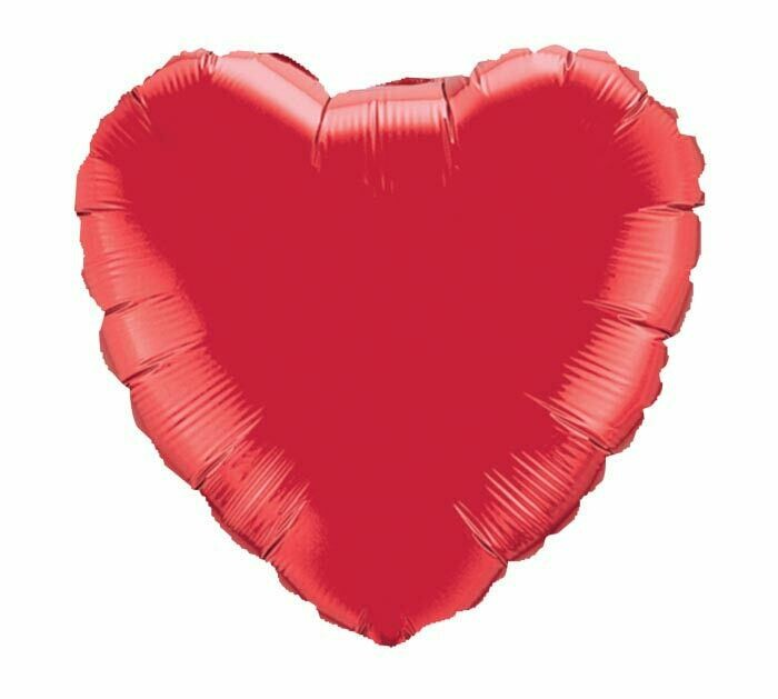 METALLIC HEART SOLID BALLOON RUBY RED
