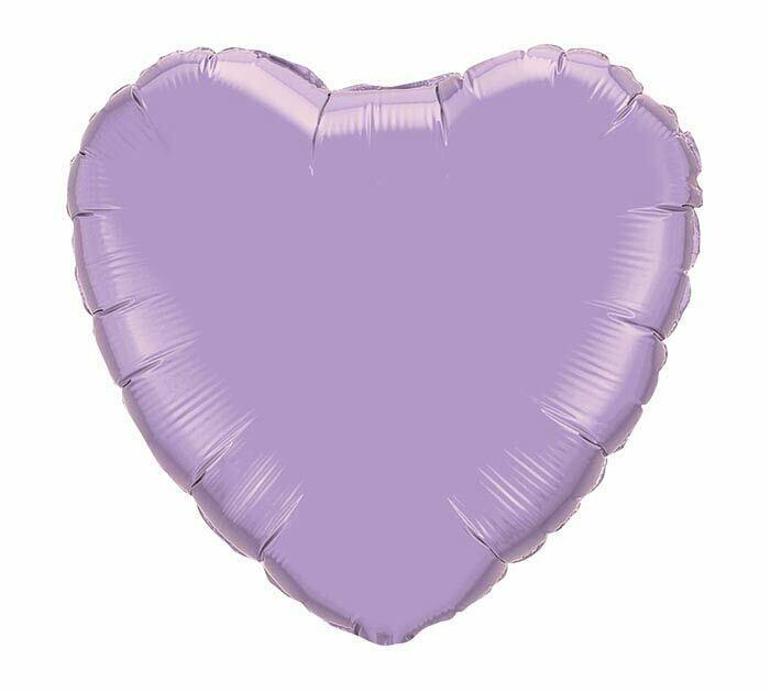 METALLIC HEART SOLID BALLOON PEARL LAVENDER